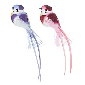 Oiseaux avec plumes, 14 cm, 4 pièces