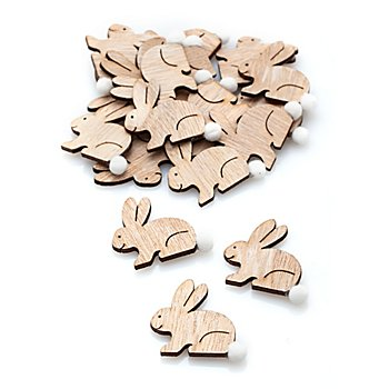 Streuteile 'Hasen mit Bommel', 3,5 x 4 cm, 18 Stück
