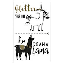 Motifs autocollants 'licorne et lama', noir/or, 2 feuilles
