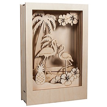 Holzbausatz 3D-Motivrahmen 'Flamingo', 20 x 30 x 6,7 cm