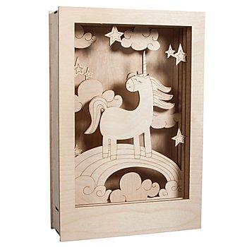 Holzbausatz 3D-Motivrahmen 'Einhorn', 20 x 30 x 6,5 cm