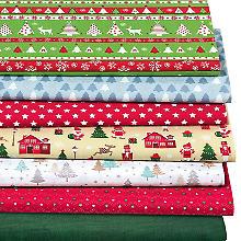 Lot de 7 coupons de tissus patchwork 'motifs de Noël', selon disponibilité