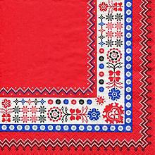 Serviettes en papier 'bordure hygge', 33 x 33 cm, 20 pièces