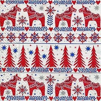 Serviettes en papier 'chevaux Noël', 33 x 33 cm, 20 pièces
