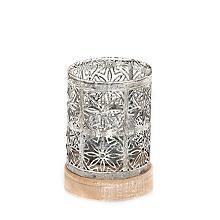Windlicht aus Metall, grau, 12 cm