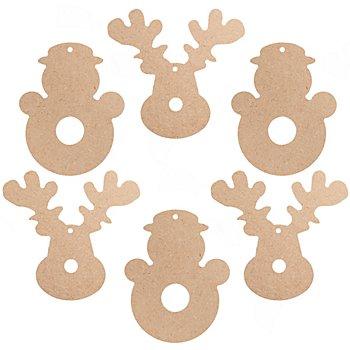 MDF-Weihnachtsfiguren, 6 Stück