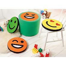 Coupon de tissu 'visages souriants', multicolore