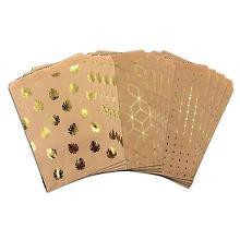Papiertüten, braun, mit Hot Foil, 18 x 13,1 cm, 12 Stück