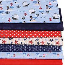 Lot de 7 coupons de tissu patchwork 'enfants - style maritime', bleu multicolore