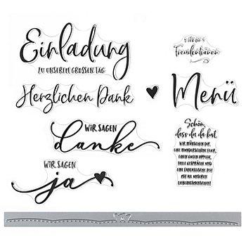 Silikonstempel- & Stanzschablonen-Set 'Hochzeit'