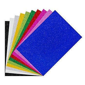 Glitzer-Moosgummi, bunt, 21 x 29,5 cm, 10 Bogen