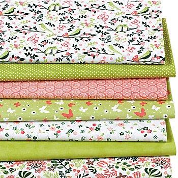 Lot de 7 coupons de tissu patchwork, vert/corail