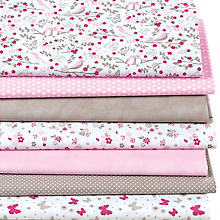 Lot de 7 coupons de tissu patchwork, rose/taupe
