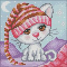 Diamantenstickerei-Set 'Katze mit Mütze'