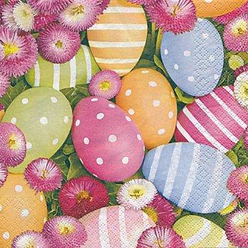 Papierservietten 'Ostereier und Blumen', 33 x 33 cm, 20 Stück
