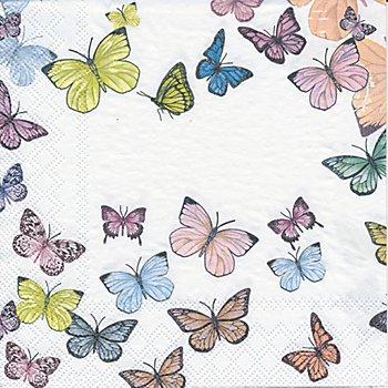 Papierservietten 'Schmetterlinge pastell', 33 x 33 cm, 20 Stück