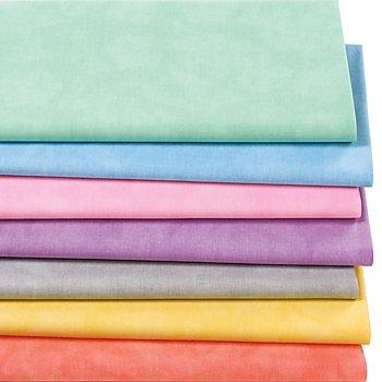 Lot de 7 coupons de tissu patchwork 'moiré', tons pastel
