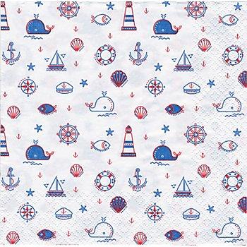 Serviettes en papier 'motifs maritimes', 33 x 33 cm, 20 pièces