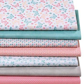 Lot de 7 coupons de tissu patchwork 'papillons', pastel