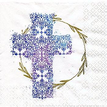 Serviettes en papier 'croix bleue', 33 x 33 cm, 20 pièces