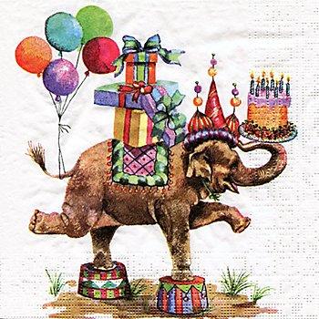 Serviettes en papier 'éléphant à cadeaux', 33 x 33 cm, 20 pièces
