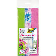 Folia Blumenseide-Papier, grün, lila und rosa, 50 x 70 cm, 6 Bogen