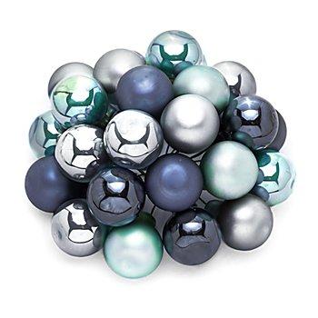 Weihnachtskugeln am Draht, nachtblau, steinblau, eisblau, 2 cm Ø, 24 Stück