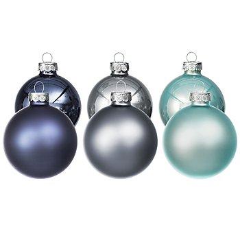 Weihnachtskugeln aus Glas, nachtblau, steinblau, eisblau, 6 cm Ø, 12 Stück