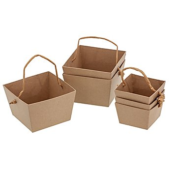 Petits paniers en carton, marron, 2 dimensions, 6 pièces