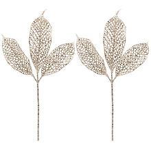 Glitter-Skelettblatt, platin, 2 Stück