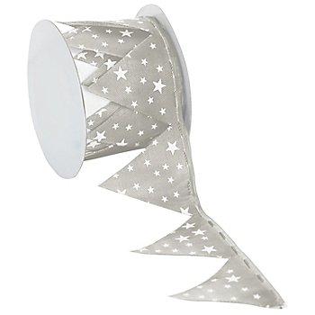 Stoffband Ziehstern 'Sterne', taupe-weiß, 5 cm, 2,5 m