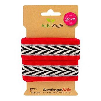 Albstoffe Bio-Band 'Stripe Me Icon/Glam', rot/weiß/schwarz, 2 m