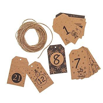 Adventskalender-Zahlen-Hänger aus Kraftpapier