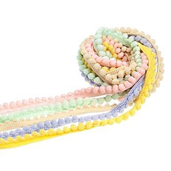 Bänderpaket 'Pompon', pastell, 20 mm, 5x 1 m