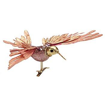 Oiseau déco 'colibri' avec pince, or/rose