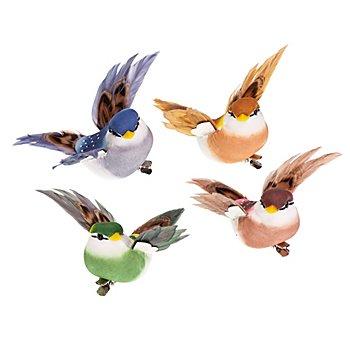 Federvögel 'Kolibri' mit Klammer, bunt, 8 cm, 4 Stück
