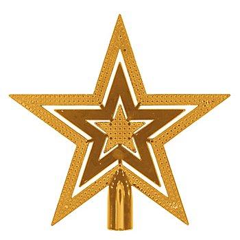 Christbaumspitze 'Stern' aus Kunststoff, gold,  20 cm Ø