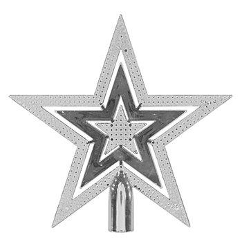 Christbaumspitze 'Stern' aus Kunststoff, silber,  20 cm Ø