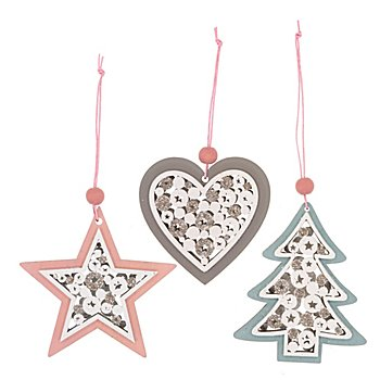 Motifs en bois à suspendre 'étoile, sapin, cœur', rose/taupe/bleu clair, 8,5 - 9 cm, 3 pièces