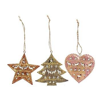 Motifs en métal à suspendre 'étoile, sapin, cœur', avec des paillettes, 8,5 - 9 cm, 3 pièces