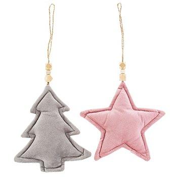 Samt-Hänger 'Weihnachten', grau-rosa, 2 Stück