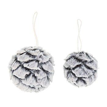 Boules de neige déco avec imitation fourrure, 2 pièces, 6 cm Ø, 8 cm Ø
