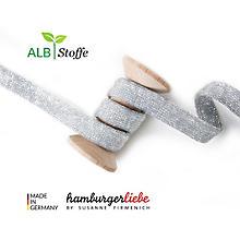 Albstoffe Bio-Flachkordel / Strickschlauch 'Cord Me Glow', silber, 3 m