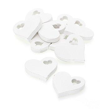 Streuteile 'Herzen', weiß, 5 cm, 10 Stück