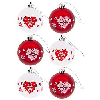Weihnachtskugeln, rot-weiß, 6 cm Ø, 6 Stück