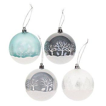 Weihnachtskugeln, grün, weiß, türkis, silber, 8 cm Ø, 4 Stück