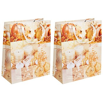 Sachets en papier 'Noël doré', 26 x 32 cm, 2 pièces