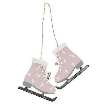 Motifs en bois à suspendre 'patins à glace', rose, 8,5 cm, 1 paire