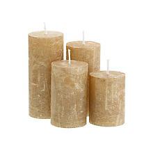 Rustikale Kerzen, gold-metallic, abgestuft, 4 Stück
