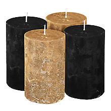 Rustikale Kerzen, schwarz-metallic/gold-metallic, 6 cm Ø, 10 cm hoch, 4 Stück